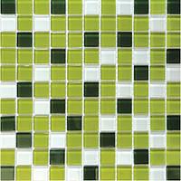 Микс из мозаики зеленой и белой на сетке Vivacer Mix C012R
