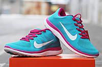 Женские кроссовки NIKE FREE RUN 4 0, голубые с розовым / кроссовки  женские  Найк Фри Ран, стильные