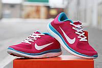 Женские кроссовки NIKE FREE RUN 4 0, розовые с голубым / кроссовки  женские  Найк Фри Ран, удобные