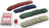 Покерный набор в блистере (колода карт + 60 фишек), фото 1