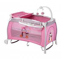 """Манеж кровать со вторым уровнем музыкальный """"Apple"""" pink 7322"""