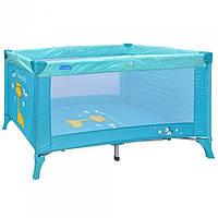 Манеж кровать складной голубой  63415