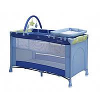 """Манеж кровать двух уровневый """"Stork"""" 4211 blue"""