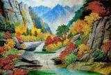 Ткань с рисунком для вышивки бисером Китайский пейзаж