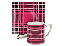 Набор чайный керамический 6 кружек и 6 квадратных блюдец  Шотландия  клетка) 300 мл 86-1415