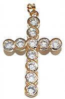 Крестик фирмы Хuping, цвет: позолота+родий, камни: циркон. Высота 4,5 см. ширина 25 мм.