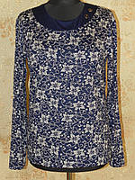Кофта блуза трикотажная с узором и декоративными пуговицами