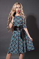Изящное платье из итальянского трикотажа из новой коллекции в голубую клетку