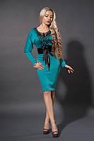 Трикотажное платье приталенное рукав летучая мышь с кружевом