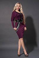 Трикотажное платье в цвете марсала с кожаным черным кружевом на груди