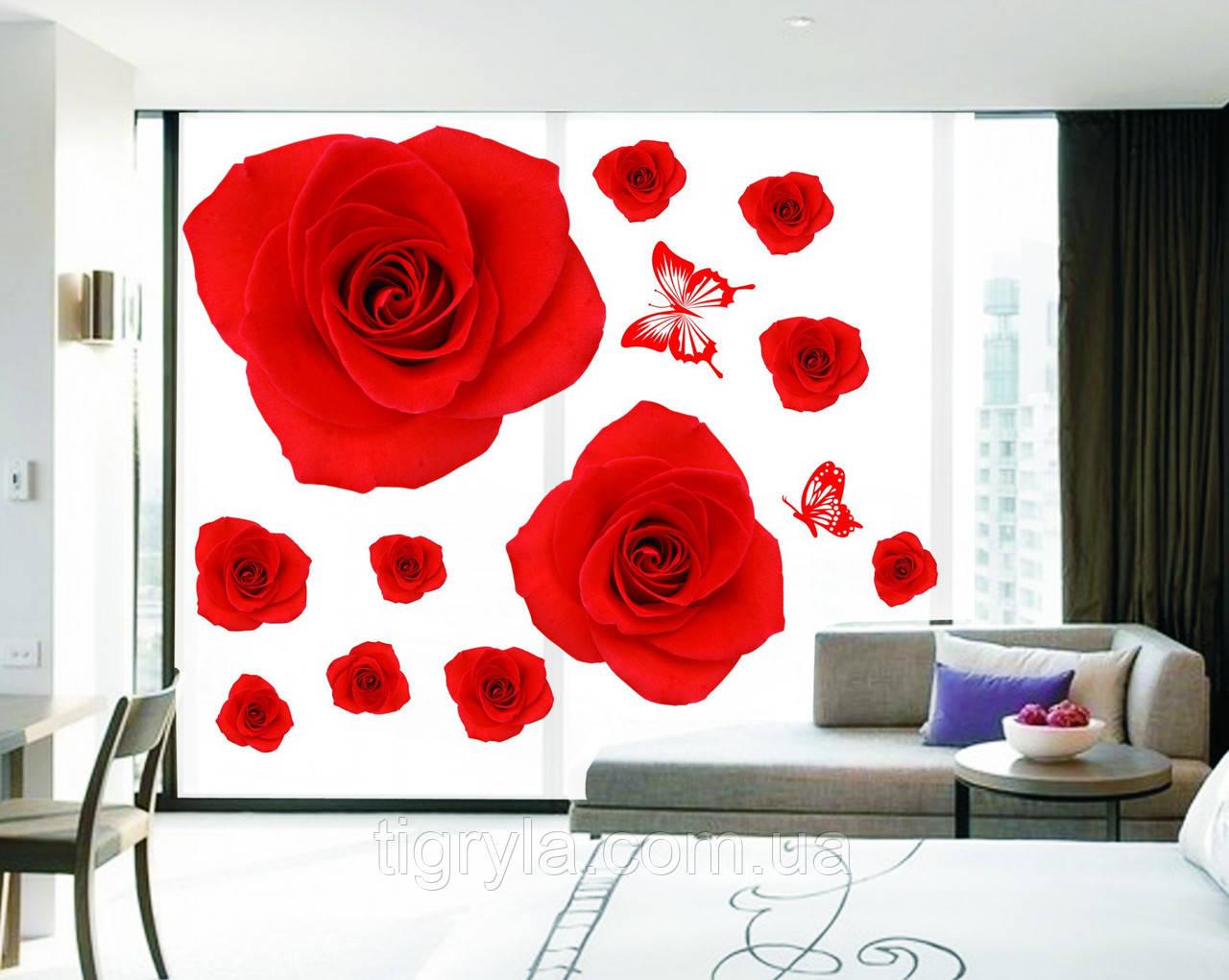 Интерьерная наклейка на стену Красные Розы