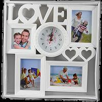 Фоторамка коллаж на 4 фото с часами и надписью love
