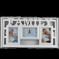 Семейная фоторамка с надписью семья и часами