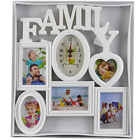 Семейная мультирамка на 5 фото с овальными часами
