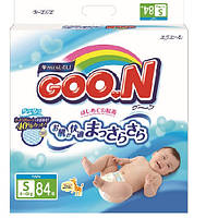 Подгузники GOO.N для детей 4-8 кг размер S, на липучках, унисекс, 84 шт (753707)