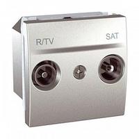 Механизм розетки TV-FM-SAT проходной 2 м. Schneider серия Unica алюм