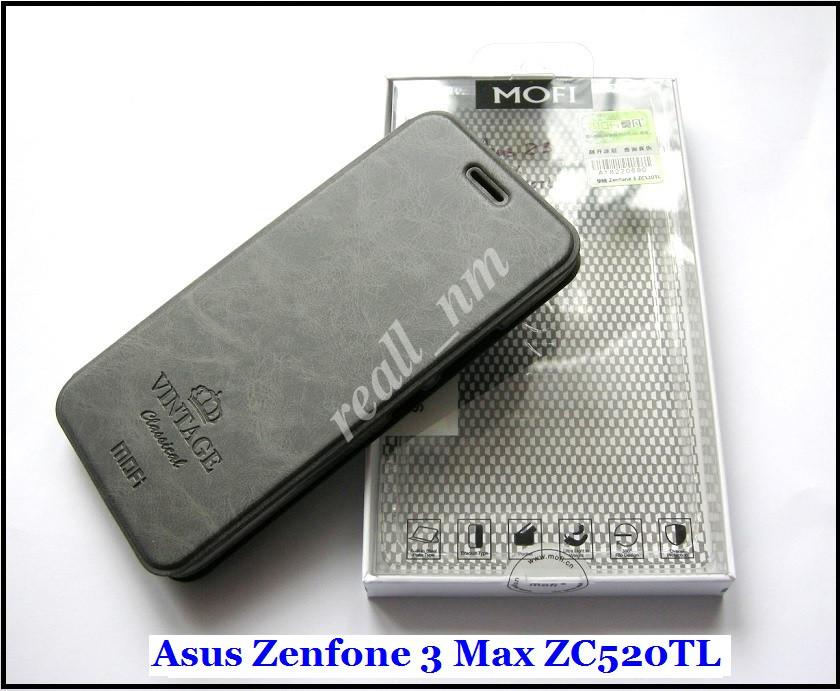 Оригинальный чехол книжка Asus Zenfone 3 Max ZC520TL X008D, чехол MOFI Vintage Classical  темный серый