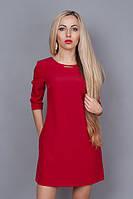 Очень красивое женское платье красного цвета с карманами