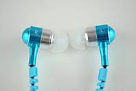 Наушники вакуумные проводные Змейка + Microphone (голубые) в блистере