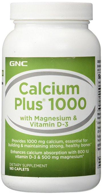 GNC CALCIUM Plus 1000 with Magnesium & Vitamin D-3 180 caplets