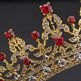 Детская корона, диадема, тиара в золоте с красными камнями, высота 5,5 см., фото 4