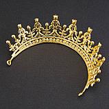 Детская корона, диадема, тиара в золоте с красными камнями, высота 5,5 см., фото 3