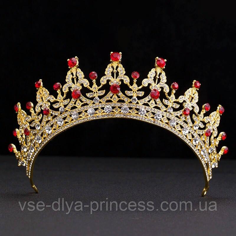 Детская корона, диадема, тиара в золоте с красными камнями, высота 5,5 см.