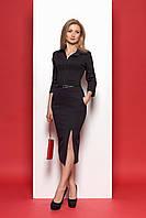 Платье 973 Цвет: чёрный с красным