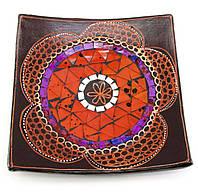 Тарелка квадратная из дерева с мозаикой