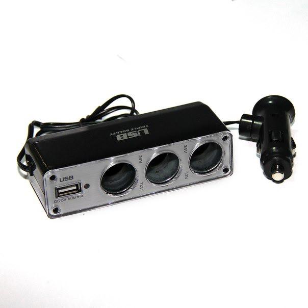 Разветвитель прикуривателя (тройник) WF-0120 с USB