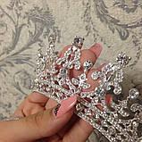 Детская корона, диадема, тиара в серебре с прозрачными камнями, высота 5,5 см., фото 3