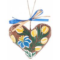 Сердечко на День святого Валентина, ручная роспись,экологически чистый материал 7701