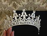 Детская корона, диадема, тиара в серебре с прозрачными камнями, высота 5,5 см., фото 2