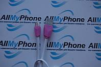 USB дата-кабель для мобильного телефона Micro-Usb ALIENS rc-030m  REMAX 1 meter белый с розовым