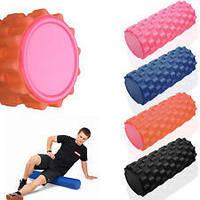 Роллер массажный (Grid Roller) для йоги, пилатеса, фитн. FI-4942 (d-14,5см, l-45см, 1,05кг, цвета в ассортимен