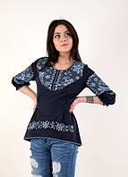 Праздничная вышитая блуза с геометрическим узором в виде сердца