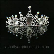 Корона, диадема, тиара в серебре с большими камнями, высота 5,5 см.