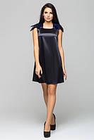 Атласное черное платье с перьями Паулина Leo Pride 42-46 размеры