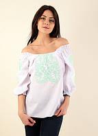 Очень стильная современная блуза Эйфория в белом цвете из хлопка с салатовой вышивкой