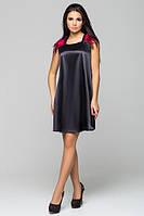 Атласное черное молодежное платье с перьями Паулина Leo Pride 42-46 размеры