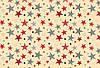 """Польская хлопковая ткань """"звезды разноцветные крупные на бежевом"""""""