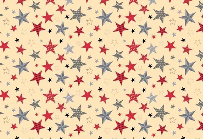 """Польская хлопковая ткань """"звезды разноцветные крупные на бежевом"""", фото 2"""