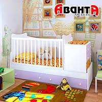 """Детская кроватка-трансформер """"SKY"""" (БЕЛЫЙ-ЛАВАНДА)"""