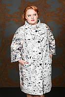 Пальто женское оверсайз королевского размера серое пальто весна для полных