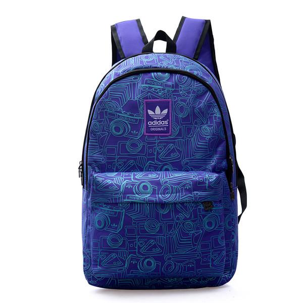 Рюкзак Adidas фиолетовый с изображением голубых фотоаппаратов (реплика)