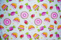 """Польская хлопковая ткань """"пончики розовые на белом"""""""