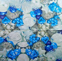 "Салфетка декупажная 33x33см 27 ""Голубые игрушки на ёлку""(товар при заказе от 500грн)"