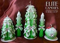 Набір зелених різьблених свічок для ритуалу залучення грошей або подарунка