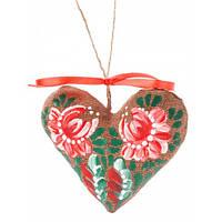 Сердечко на День святого Валентина, ручная роспись,экологически чистый материал  7707