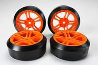Team magic e4d mounted drift tire 45 degree 5 spoke orange 4p